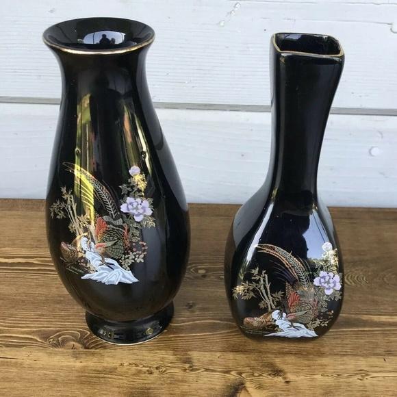 Accents 2 Kutani Style Flower Vase Japanese Black Pheasant Poshmark